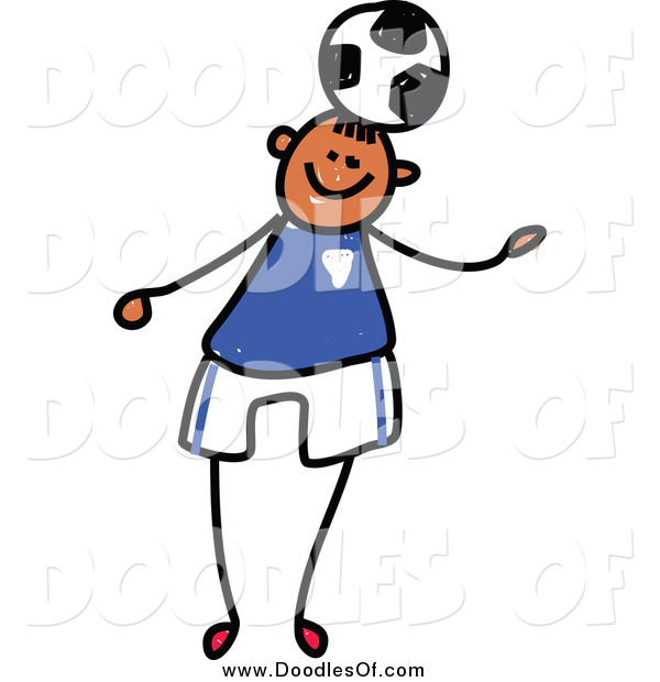 Vector Clipart of a Doodled Boy Playing Soccer