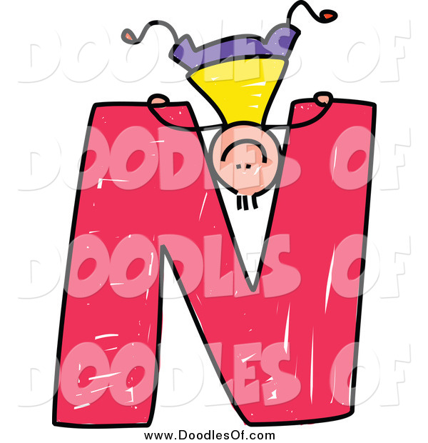 Vector Clipart of a Doodled Boy Playing Upside down on a Capital Letter N