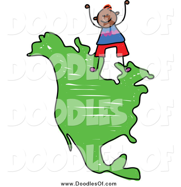 Vector Clipart of a Doodled Boy Standing on a Map of North America