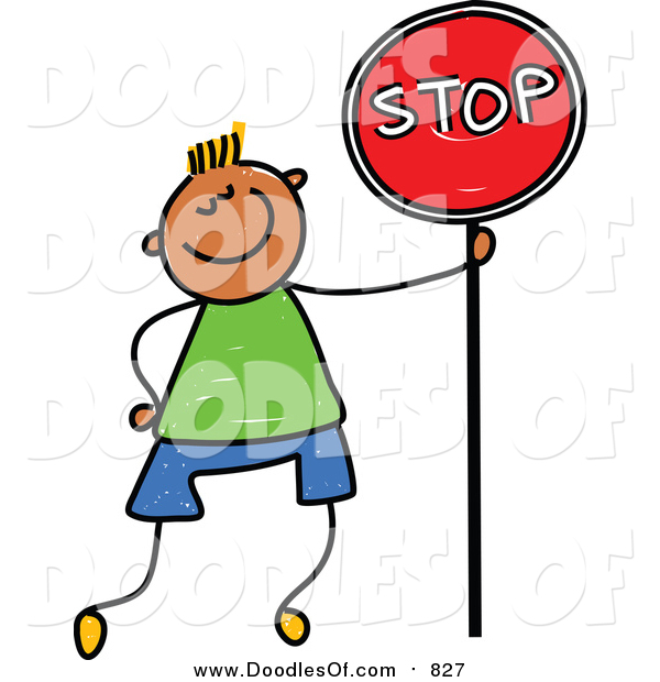 Vector Clipart of a Doodled Boy Standing with a Stop Sign