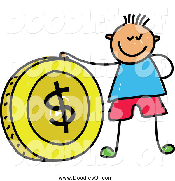 Vector Clipart of a Doodled Boy with a Big Dollar Coin