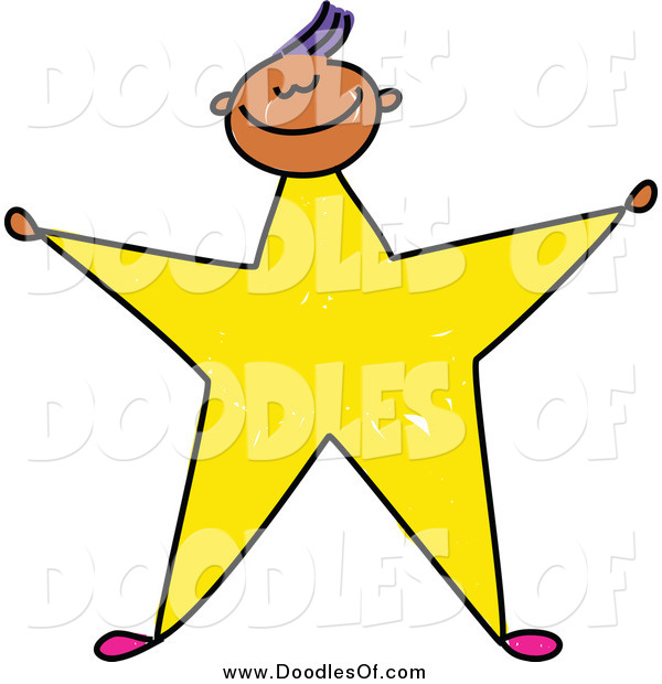 Vector Clipart of a Doodled Boy with a Yellow Star Body