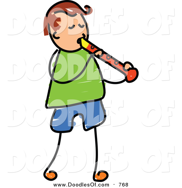 Vector Clipart of a Doodled Brunette White Boy Playing a Recorder