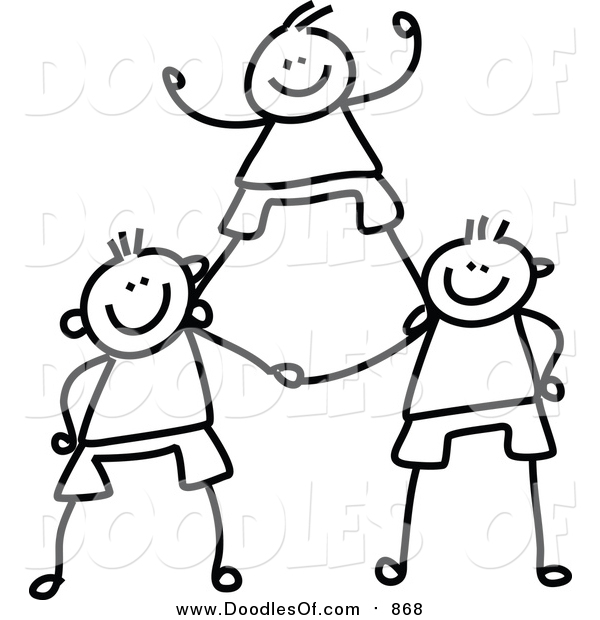 Vector Clipart of a Doodled Childs Sketch of Black and White Boys in a Pyramid