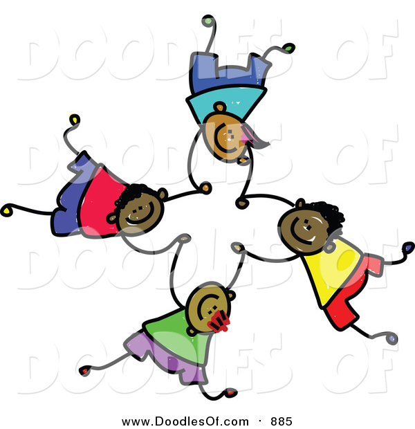 Vector Clipart of a Doodled Childs Sketch of Four Boys Falling and Holding Hands
