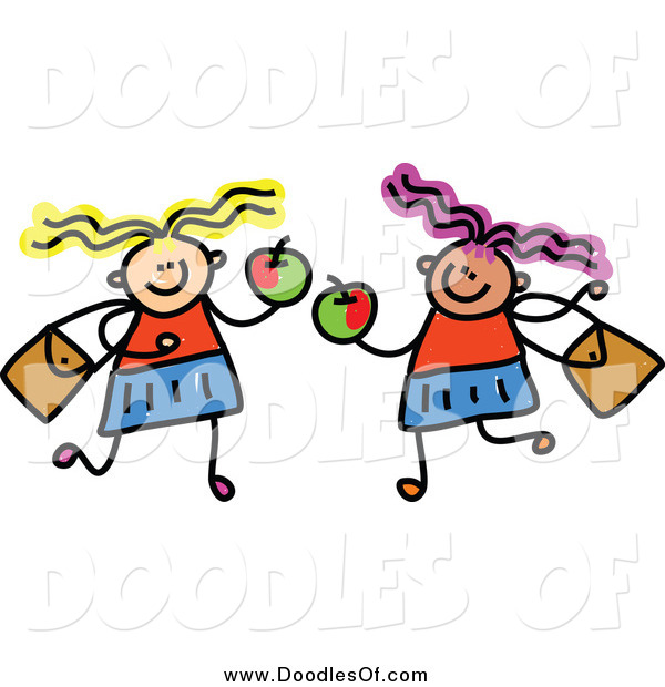 Vector Clipart of a Doodled Childs Sketch of Two Girls Holding Apples