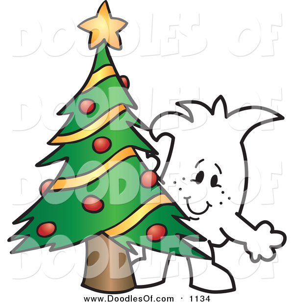 Vector Clipart of a Doodled Christmas Squiggle Guy by a Tree