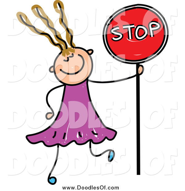 Vector Clipart of a Doodled Dirty Blond White Girl Holding a Stop Sign