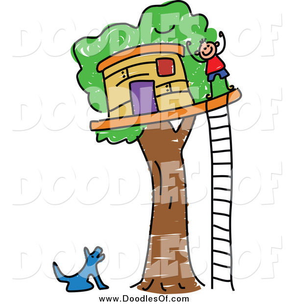 Vector Clipart of a Doodled Dog Barking up at a Boy by His Tree House