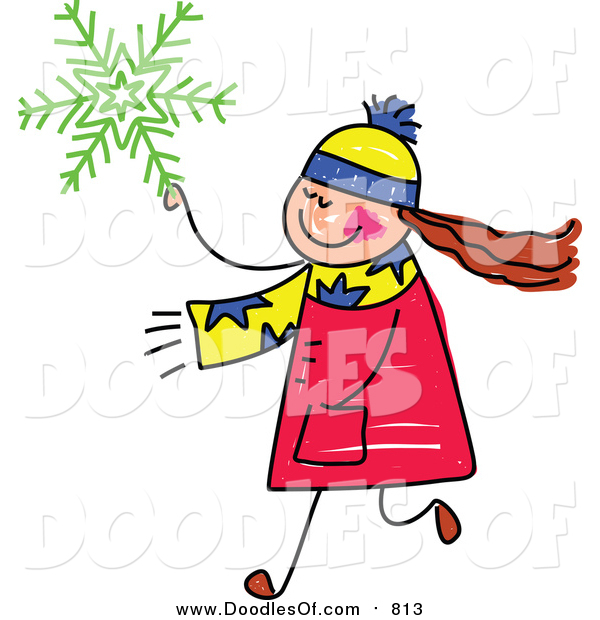 Vector Clipart of a Doodled Girl Carrying a Green Snowflake
