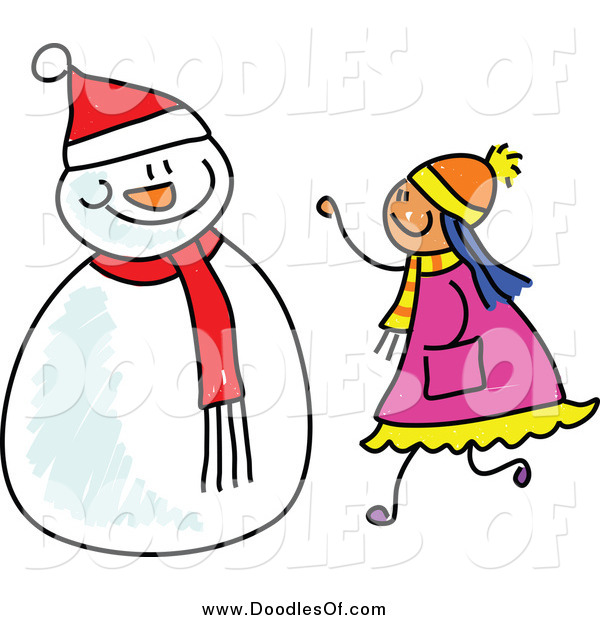 Vector Clipart of a Doodled Girl Making a Snowman