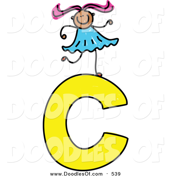 Vector Clipart of a Doodled Girl on a Capital Letter C