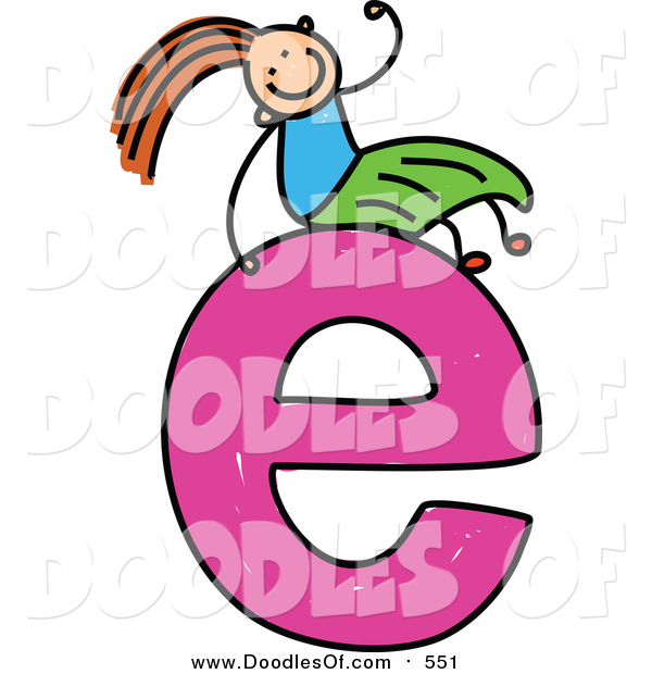 Vector Clipart of a Doodled Girl on a Lowercase Letter E