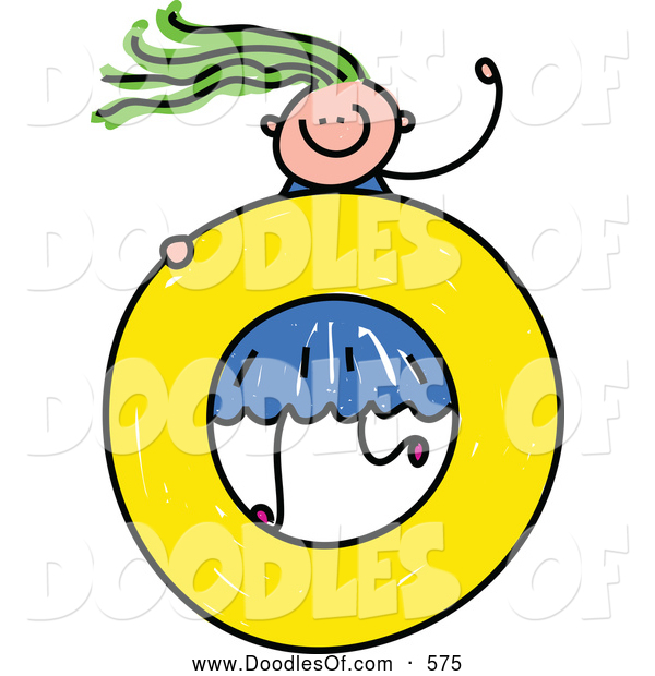 Vector Clipart of a Doodled Girl on a Lowercase Letter O