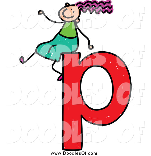 Vector Clipart of a Doodled Girl on a Lowercase Letter P