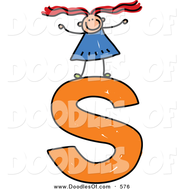 Vector Clipart of a Doodled Girl on a Lowercase Letter S
