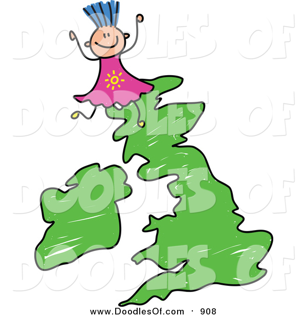 Vector Clipart of a Doodled Girl on a Uk Map