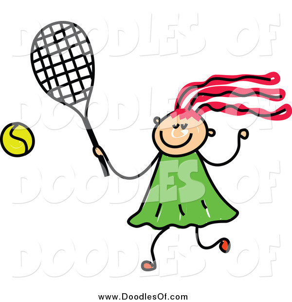 Vector Clipart of a Doodled Girl Playing Tennis