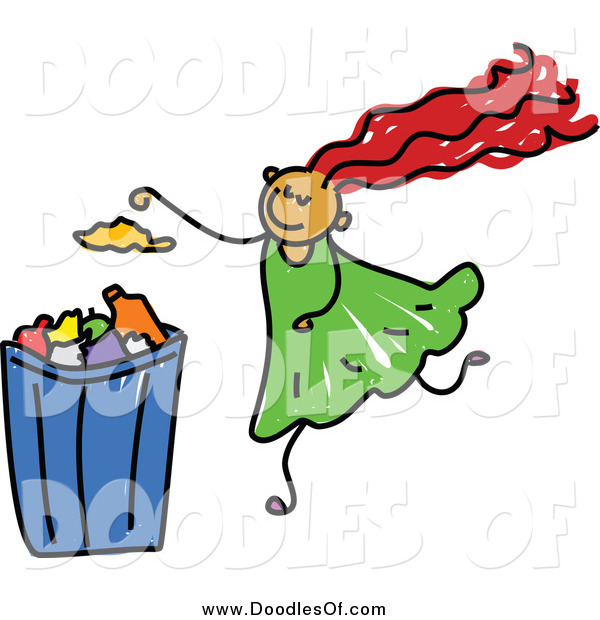 Vector Clipart of a Doodled Girl Putting Garbage in a Can
