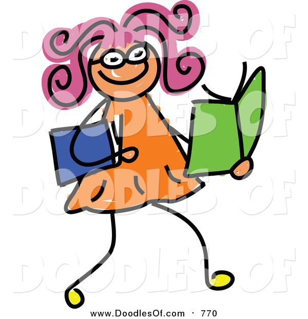 Vector Clipart of a Doodled Girl Reading Books