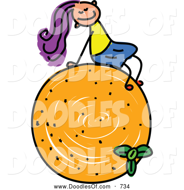 Vector Clipart of a Doodled Girl Sitting on an Orange