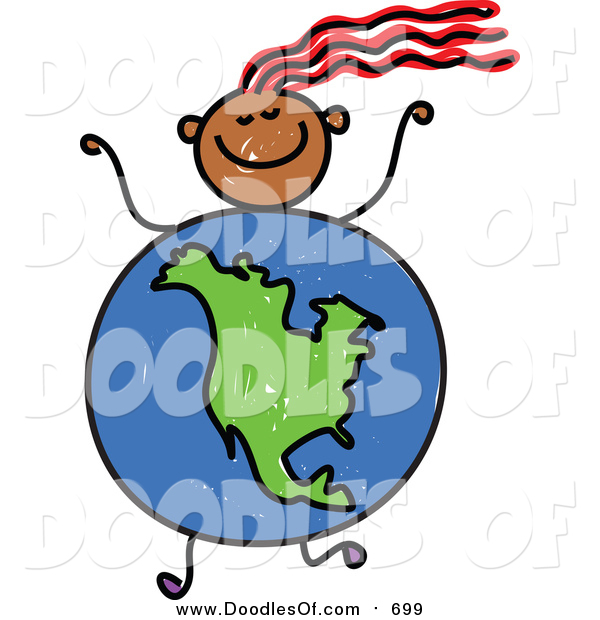 Vector Clipart of a Doodled Girl with a North American Globe Body