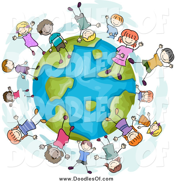 Vector Clipart of a Doodled Globe with Diverse Playful Children