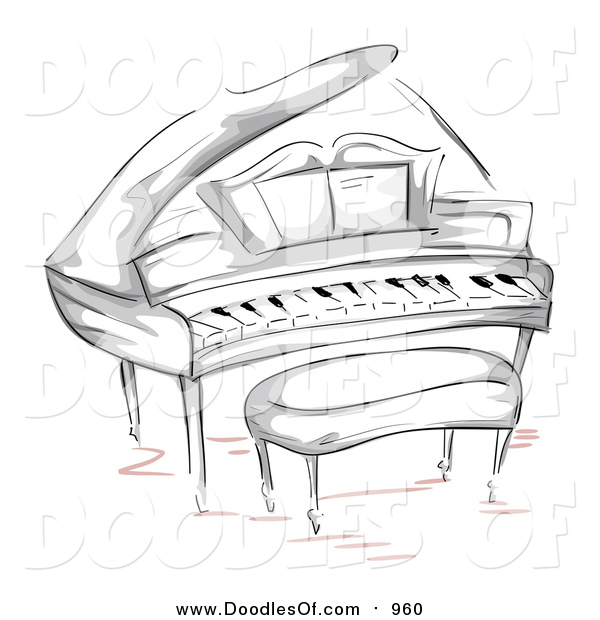 Vector Clipart of a Doodled Grand Piano and Bench