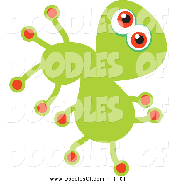 Vector Clipart of a Doodled Green Germ