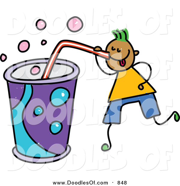 Vector Clipart of a Doodled Green Haired Black Boy Drinking a Huge Soda