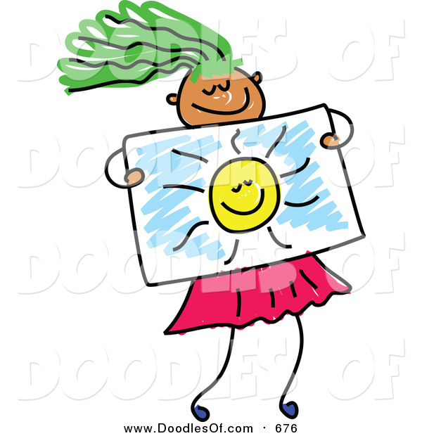 Vector Clipart of a Doodled Green Haired Girl Holding a Drawing of the Sun