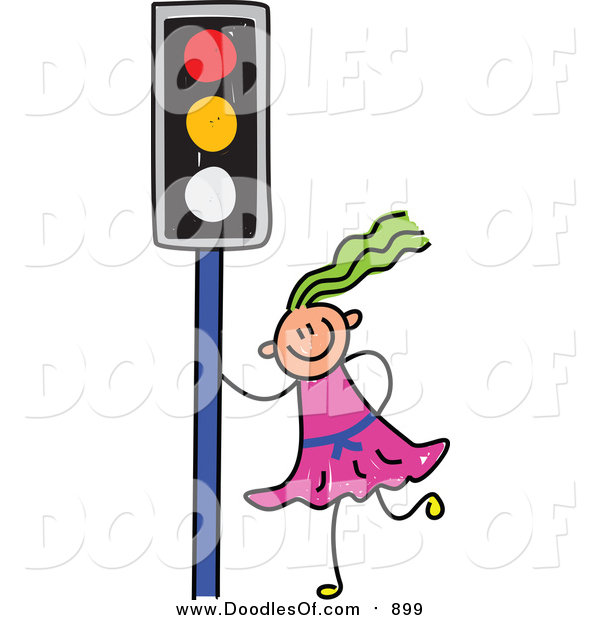 Vector Clipart of a Doodled Green Haired White Girl by a Traffic Light