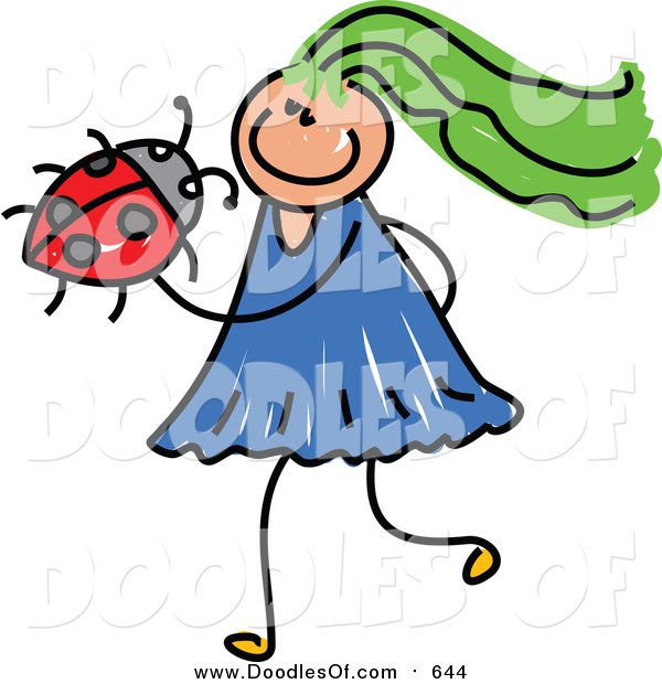 Vector Clipart of a Doodled Green Haired White Girl Holding a Ladybug