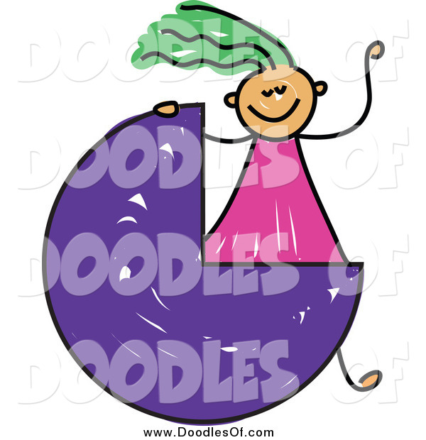 Vector Clipart of a Doodled Green Haired White Girl Waving by a Three Quarter Circle or Pie Chart