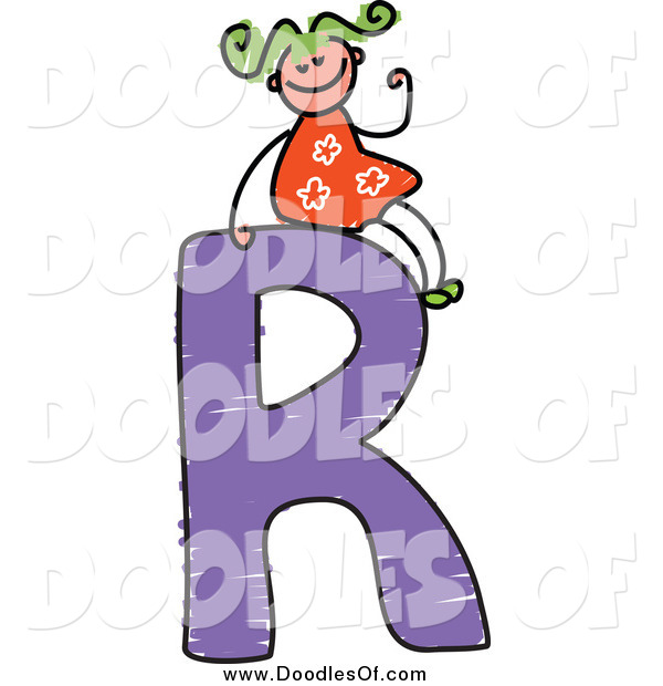 Vector Clipart of a Doodled Green Haired White Girl Waving on a Capital Letter R