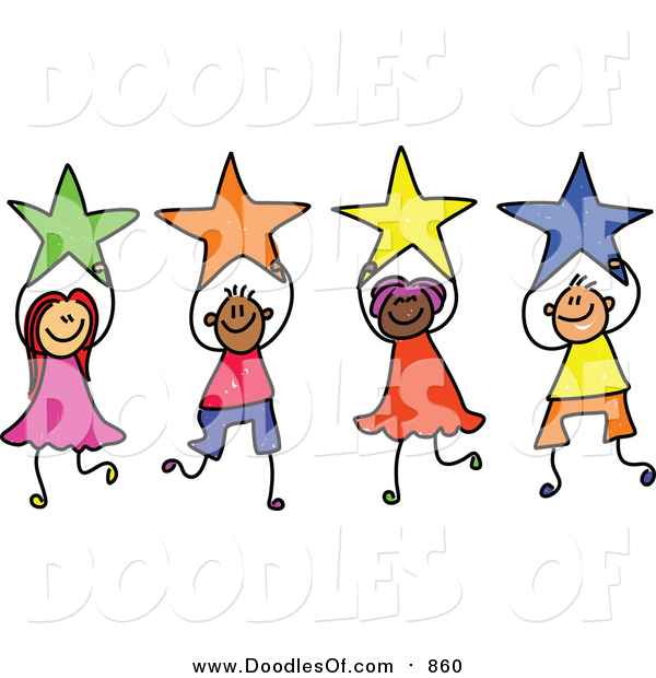 Vector Clipart of a Doodled Group of Kids Holding Stars