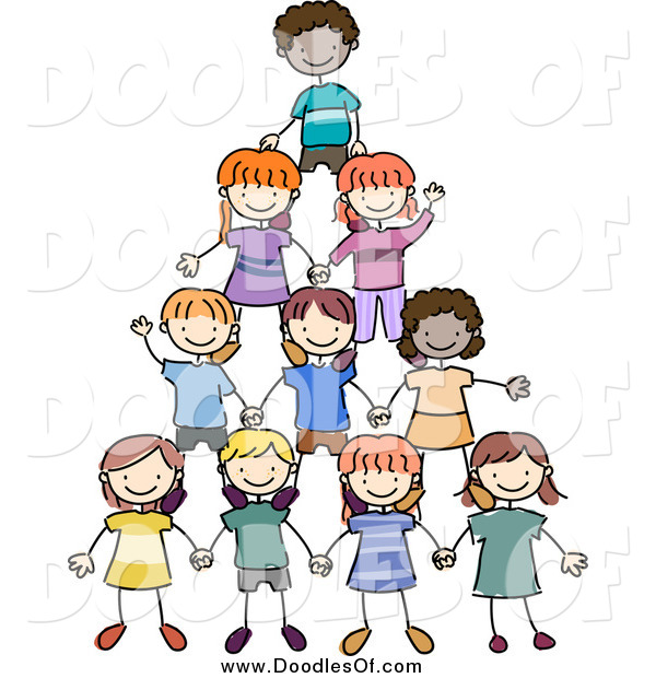 Vector Clipart of a Doodled Group of Kids Making a Pyramid