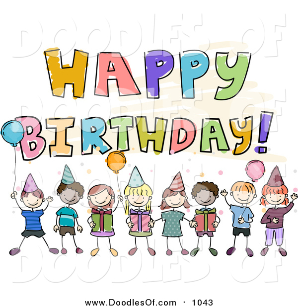 Vector Clipart of a Doodled Happy Birthday Greeting with Kids