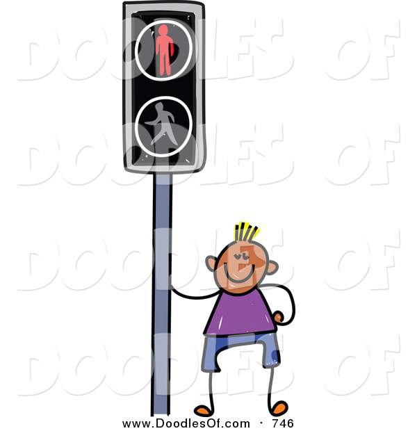 Vector Clipart of a Doodled Happy Black Boy by a Crosswalk Sign