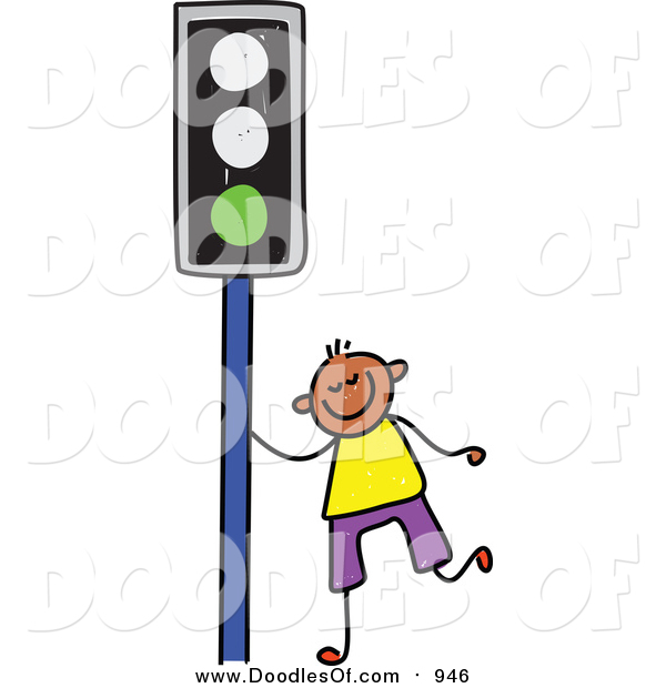 Vector Clipart of a Doodled Happy Black Boy by a Green Traffic Light