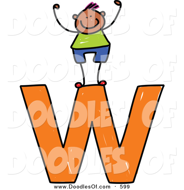 Vector Clipart of a Doodled Happy Black Boy Cheering on a Lowercase Letter W