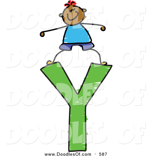 Vector Clipart of a Doodled Happy Black Boy Standing on a Capital Letter Y
