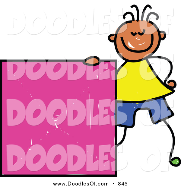 Vector Clipart of a Doodled Happy Black Boy with a Pink Square