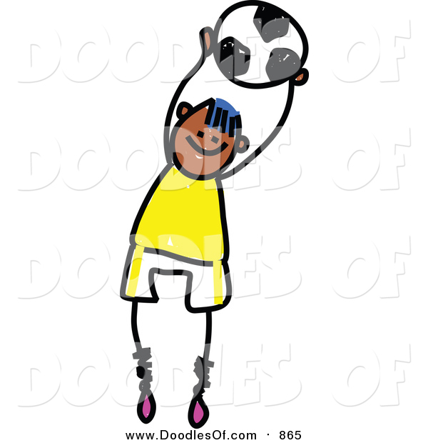 Vector Clipart of a Doodled Happy Black Soccer Boy