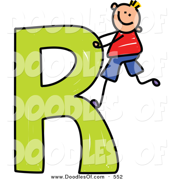 Vector Clipart of a Doodled Happy Blond White Boy Climbing a Capital Letter R