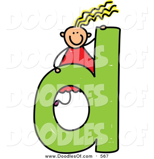 Vector Clipart of a Doodled Happy Blond White Girl on a Lowercase Letter D