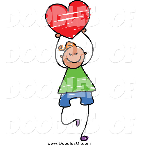 Vector Clipart of a Doodled Happy Boy Holding a Red Heart