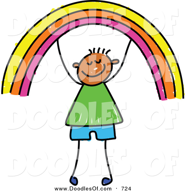 Vector Clipart of a Doodled Happy Boy Holding up a Rainbow