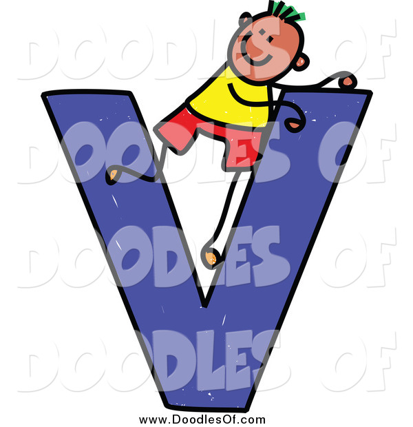 Vector Clipart of a Doodled Happy Green Haired Black Boy in a Capital Letter V