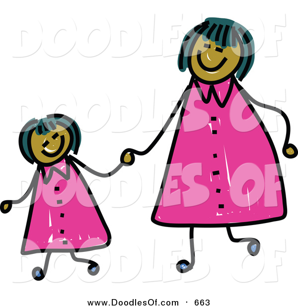 Vector Clipart of a Doodled Happy Mom and Daughter Holding Hands and Wearing Matching Clothes